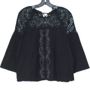 Lucky Brand Top Shirt Cut Out Peasant Black CW